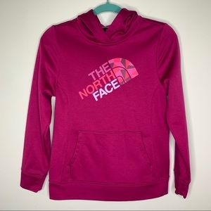 The North Face pink logo hooded sweatshirt